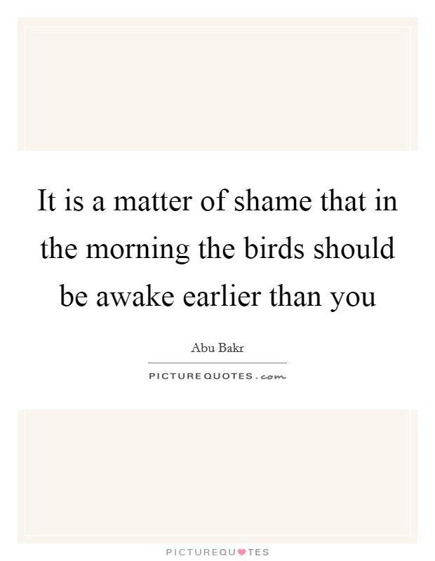 It is a matter of shame that in the morning the birds should be awake earlier than you Picture Quote #1