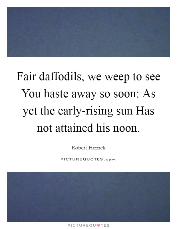 Fair daffodils, we weep to see You haste away so soon: As yet the early-rising sun Has not attained his noon Picture Quote #1