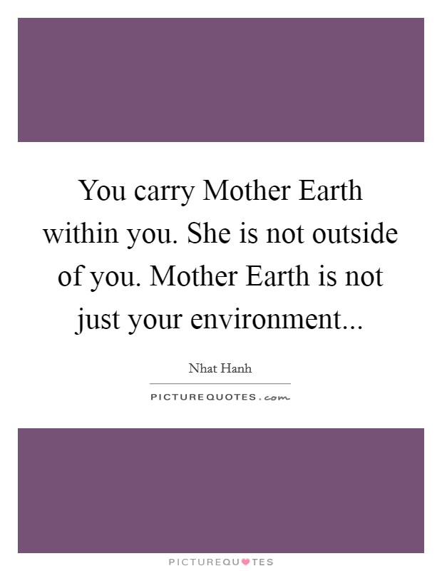 You carry Mother Earth within you. She is not outside of you. Mother Earth is not just your environment Picture Quote #1