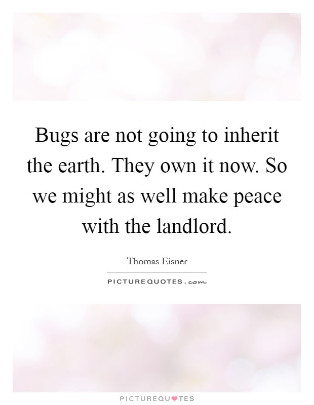 Bugs are not going to inherit the earth. They own it now. So we might as well make peace with the landlord Picture Quote #1