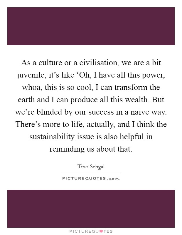 As a culture or a civilisation, we are a bit juvenile; it's like 'Oh, I have all this power, whoa, this is so cool, I can transform the earth and I can produce all this wealth. But we're blinded by our success in a naive way. There's more to life, actually, and I think the sustainability issue is also helpful in reminding us about that Picture Quote #1