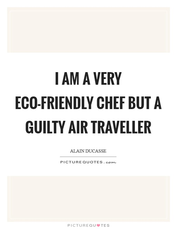 I am a very eco-friendly chef but a guilty air traveller Picture Quote #1