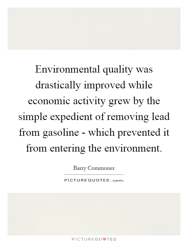 Environmental quality was drastically improved while economic activity grew by the simple expedient of removing lead from gasoline - which prevented it from entering the environment Picture Quote #1