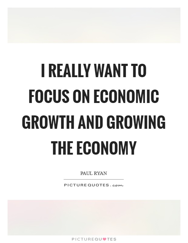 I really want to focus on economic growth and growing the economy Picture Quote #1
