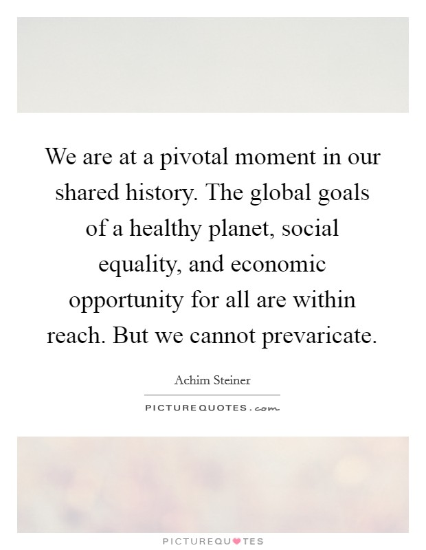 We are at a pivotal moment in our shared history. The global goals of a healthy planet, social equality, and economic opportunity for all are within reach. But we cannot prevaricate Picture Quote #1