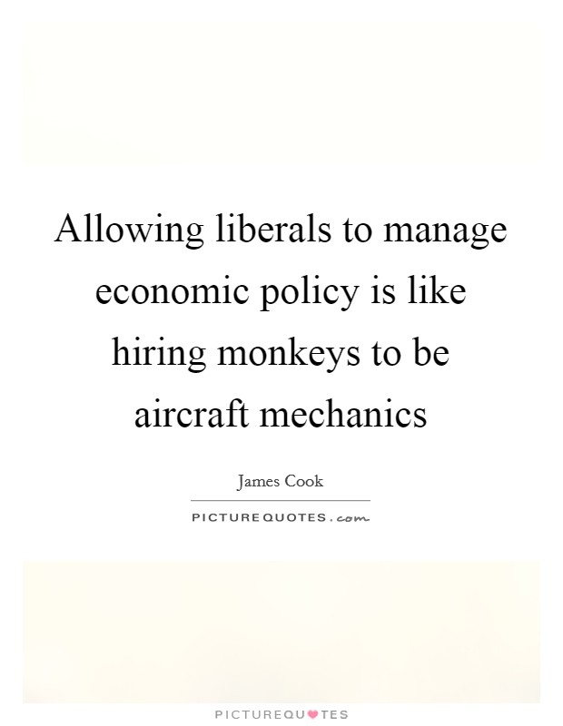 Allowing liberals to manage economic policy is like hiring monkeys to be aircraft mechanics Picture Quote #1