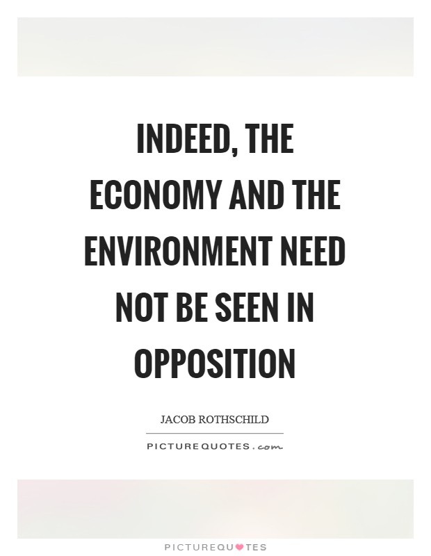 Indeed, the economy and the environment need not be seen in opposition Picture Quote #1