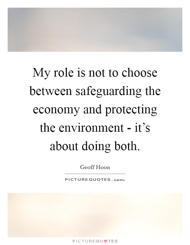 My role is not to choose between safeguarding the economy and protecting the environment - it's about doing both. Picture Quote #1