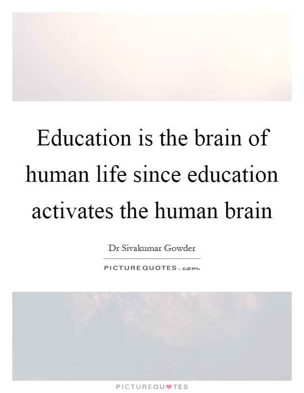 Education is the brain of human life since education activates the human brain Picture Quote #1