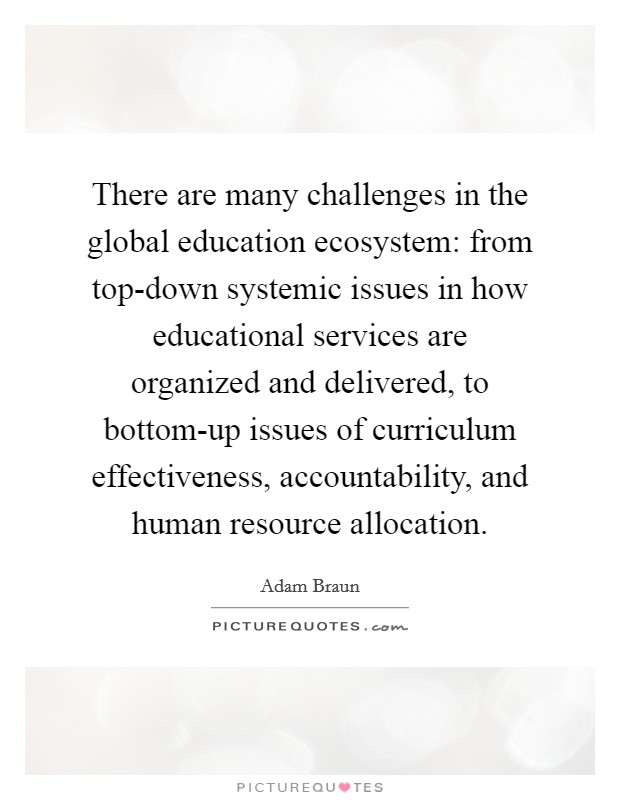 There are many challenges in the global education ecosystem: from top-down systemic issues in how educational services are organized and delivered, to bottom-up issues of curriculum effectiveness, accountability, and human resource allocation Picture Quote #1