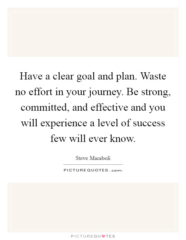 Have a clear goal and plan. Waste no effort in your journey. Be strong, committed, and effective and you will experience a level of success few will ever know Picture Quote #1