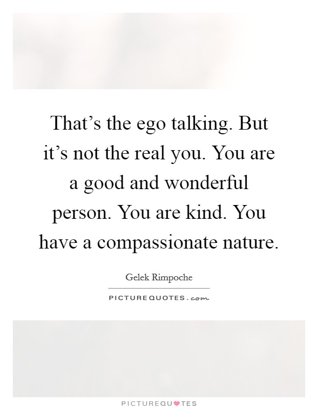 That's the ego talking. But it's not the real you. You are a good and wonderful person. You are kind. You have a compassionate nature Picture Quote #1