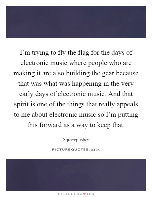 I'm trying to fly the flag for the days of electronic music where people who are making it are also building the gear because that was what was happening in the very early days of electronic music. And that spirit is one of the things that really appeals to me about electronic music so I'm putting this forward as a way to keep that Picture Quote #1