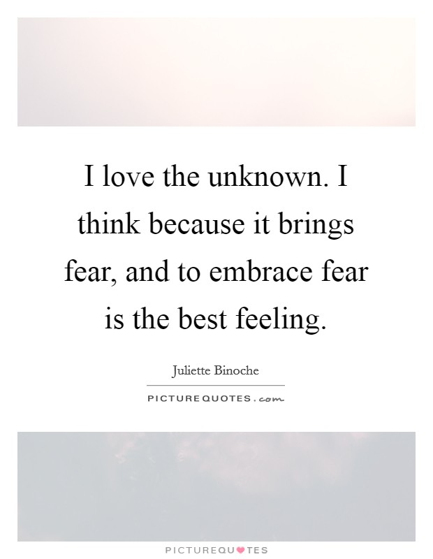 I love the unknown. I think because it brings fear, and to embrace fear is the best feeling Picture Quote #1