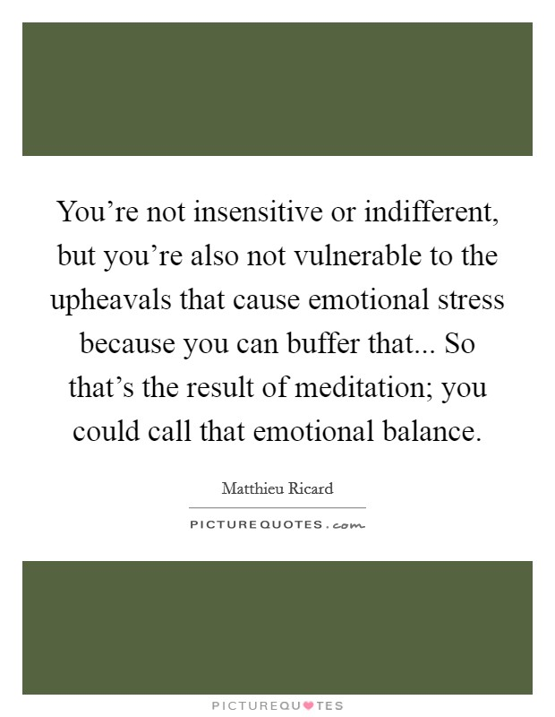 You're not insensitive or indifferent, but you're also not vulnerable to the upheavals that cause emotional stress because you can buffer that... So that's the result of meditation; you could call that emotional balance Picture Quote #1