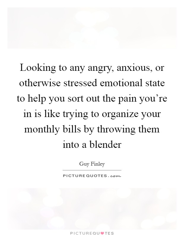 Looking to any angry, anxious, or otherwise stressed emotional state to help you sort out the pain you're in is like trying to organize your monthly bills by throwing them into a blender Picture Quote #1