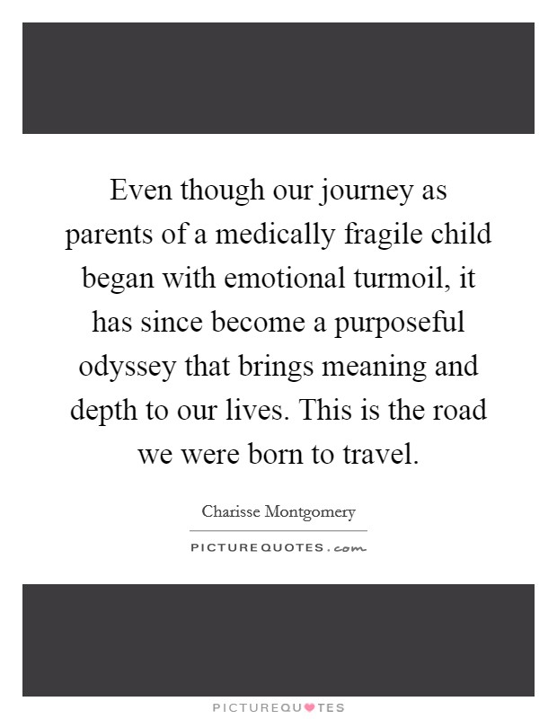 Even though our journey as parents of a medically fragile child began with emotional turmoil, it has since become a purposeful odyssey that brings meaning and depth to our lives. This is the road we were born to travel Picture Quote #1