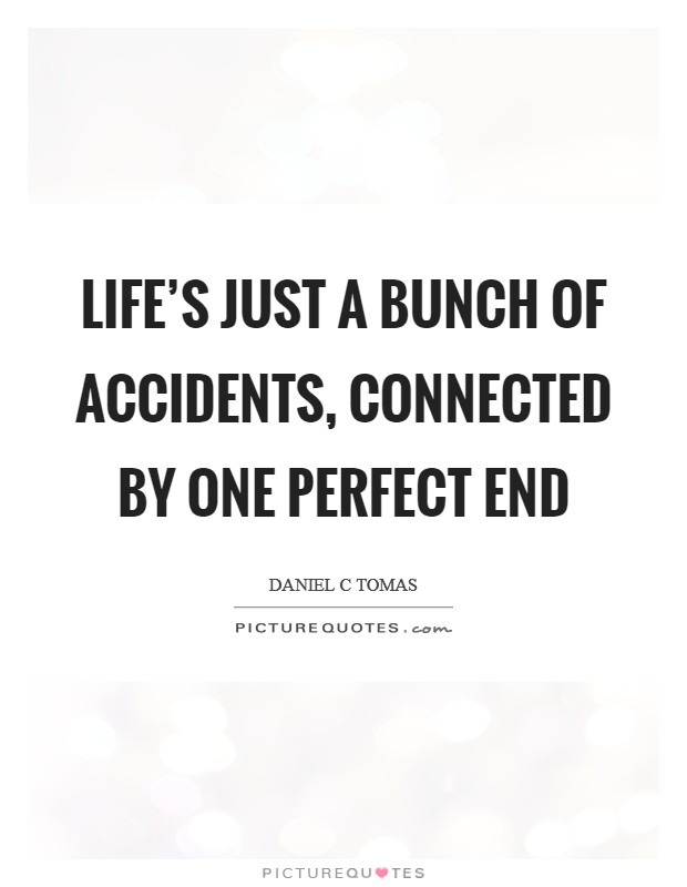 Life's just a bunch of accidents, connected by one perfect end Picture Quote #1