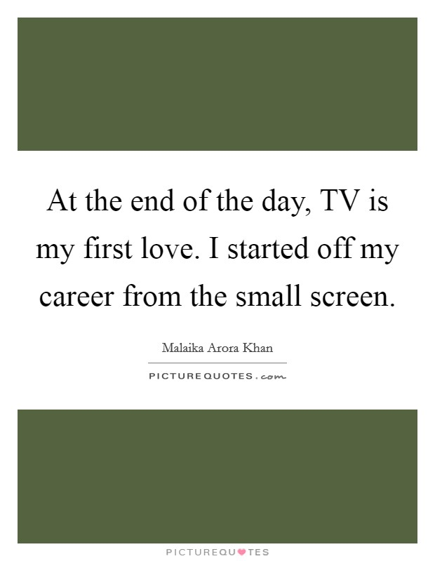 At the end of the day, TV is my first love. I started off my career from the small screen. Picture Quote #1