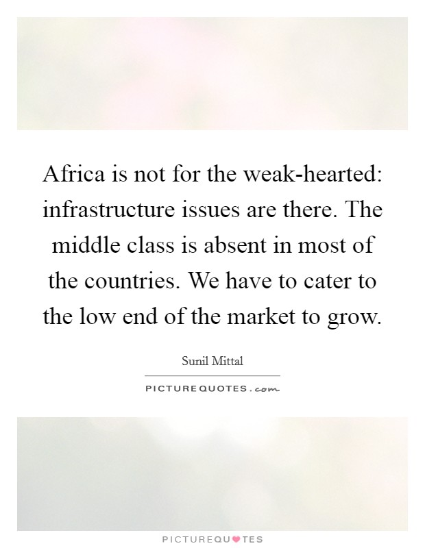 Africa is not for the weak-hearted: infrastructure issues are there. The middle class is absent in most of the countries. We have to cater to the low end of the market to grow Picture Quote #1