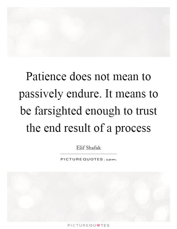 Patience does not mean to passively endure. It means to be farsighted enough to trust the end result of a process Picture Quote #1