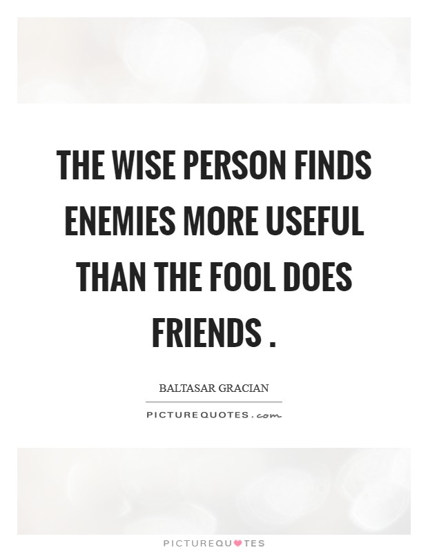 The wise person finds enemies more useful than the fool does friends . Picture Quote #1