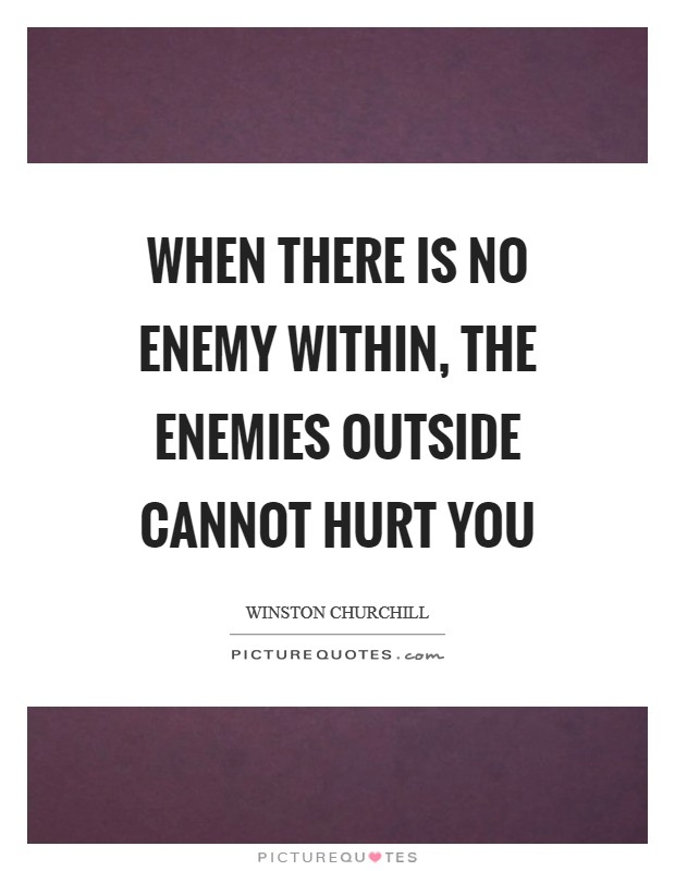 When there is no enemy within, the enemies outside cannot hurt you Picture Quote #1