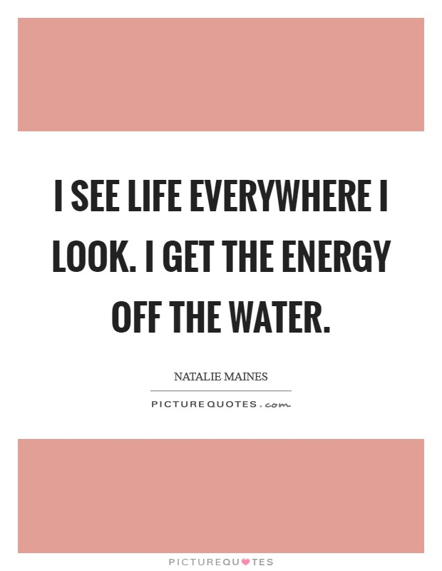 I see life everywhere I look. I get the energy off the water Picture Quote #1