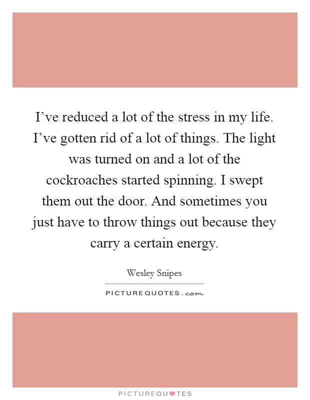 I've reduced a lot of the stress in my life. I've gotten rid of a lot of things. The light was turned on and a lot of the cockroaches started spinning. I swept them out the door. And sometimes you just have to throw things out because they carry a certain energy Picture Quote #1