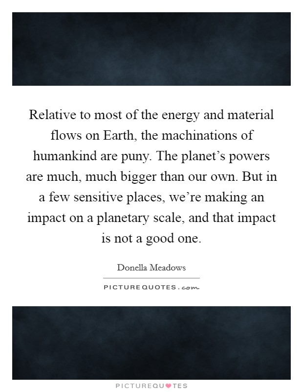 Relative to most of the energy and material flows on Earth, the machinations of humankind are puny. The planet's powers are much, much bigger than our own. But in a few sensitive places, we're making an impact on a planetary scale, and that impact is not a good one Picture Quote #1