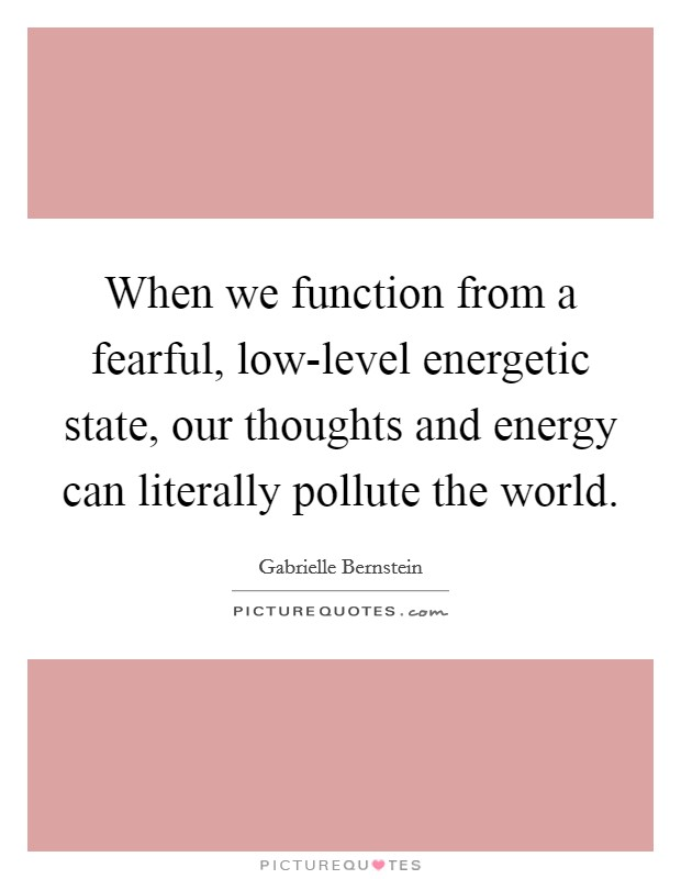 When we function from a fearful, low-level energetic state, our thoughts and energy can literally pollute the world Picture Quote #1