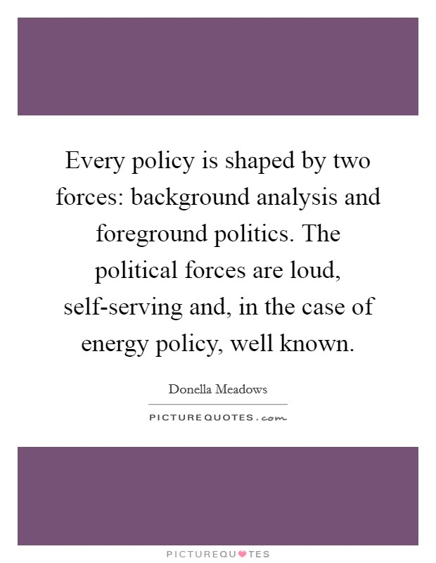Every policy is shaped by two forces: background analysis and foreground politics. The political forces are loud, self-serving and, in the case of energy policy, well known Picture Quote #1