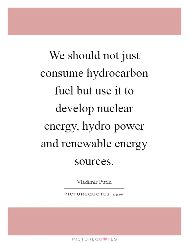 We should not just consume hydrocarbon fuel but use it to develop nuclear energy, hydro power and renewable energy sources Picture Quote #1