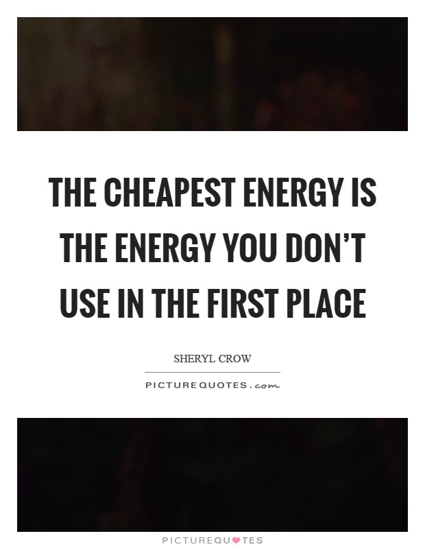 The cheapest energy is the energy you don't use in the first place Picture Quote #1