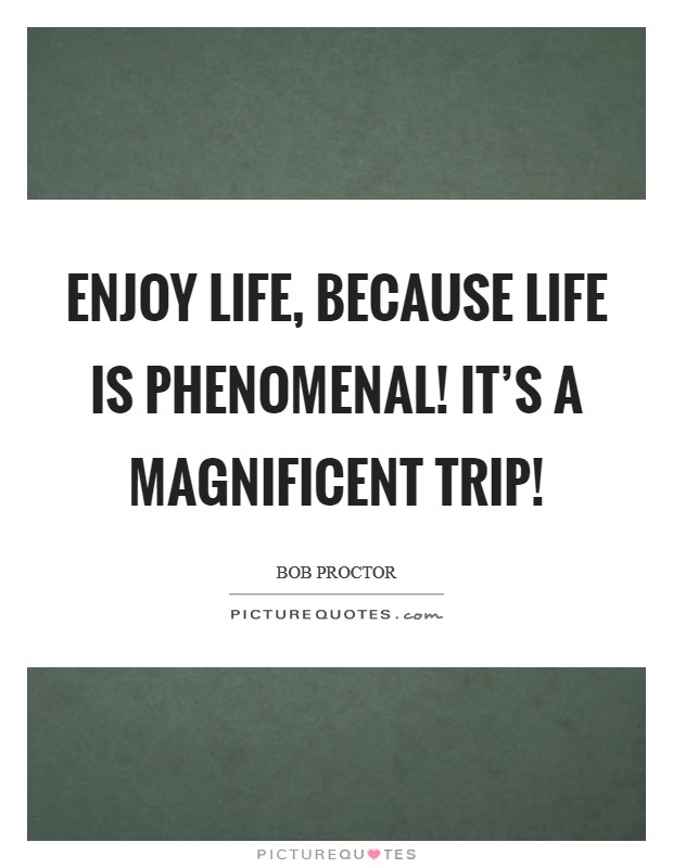 Enjoy life, because life is phenomenal! It's a magnificent trip! Picture Quote #1