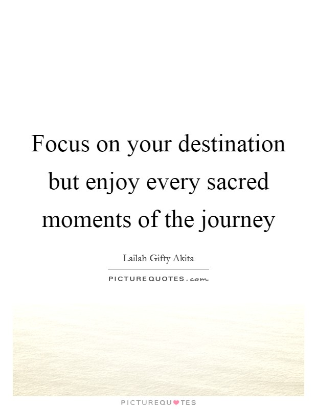 Focus on your destination but enjoy every sacred moments of the journey Picture Quote #1