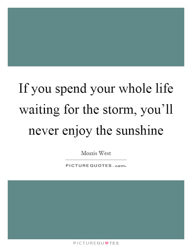 If you spend your whole life waiting for the storm, you'll never enjoy the sunshine Picture Quote #1