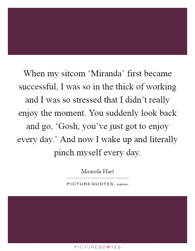 When my sitcom 'Miranda' first became successful, I was so in the thick of working and I was so stressed that I didn't really enjoy the moment. You suddenly look back and go, 'Gosh, you've just got to enjoy every day.' And now I wake up and literally pinch myself every day Picture Quote #1