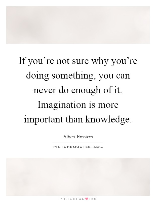 If you're not sure why you're doing something, you can never do enough of it. Imagination is more important than knowledge Picture Quote #1