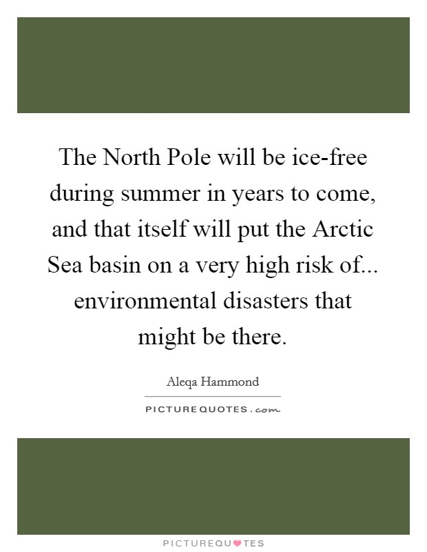 The North Pole will be ice-free during summer in years to come, and that itself will put the Arctic Sea basin on a very high risk of... environmental disasters that might be there Picture Quote #1