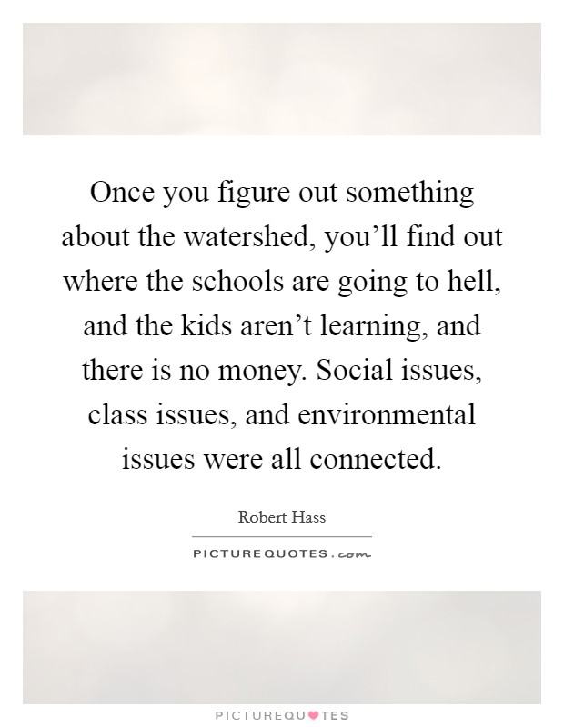 Once you figure out something about the watershed, you'll find out where the schools are going to hell, and the kids aren't learning, and there is no money. Social issues, class issues, and environmental issues were all connected. Picture Quote #1