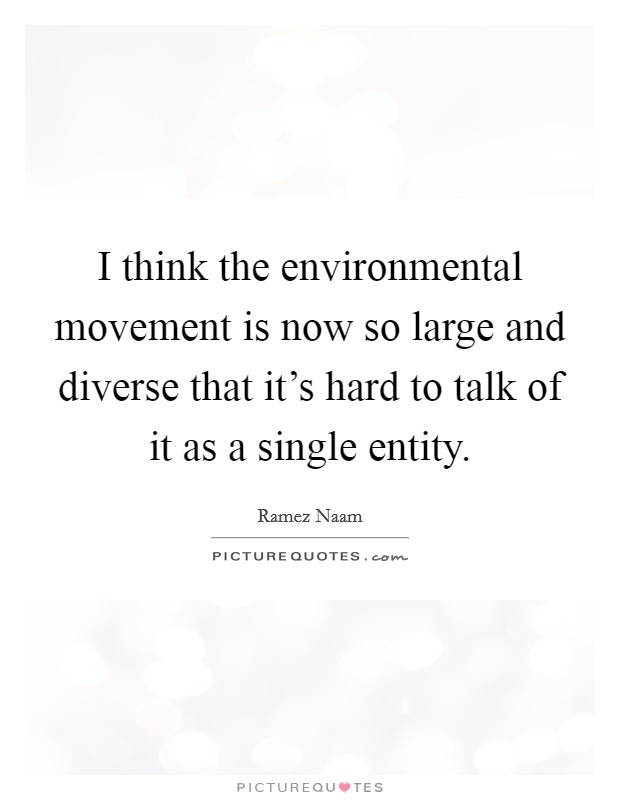 I think the environmental movement is now so large and diverse that it's hard to talk of it as a single entity Picture Quote #1
