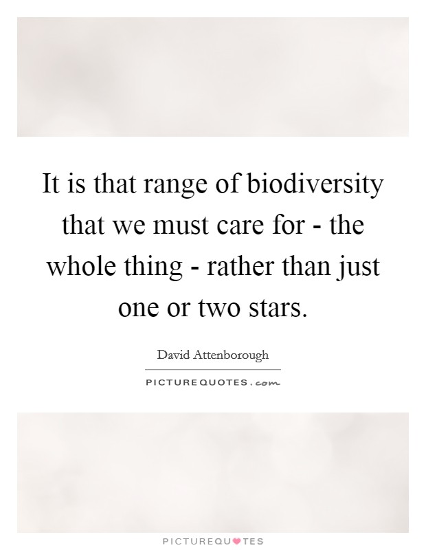 It is that range of biodiversity that we must care for - the whole thing - rather than just one or two stars Picture Quote #1