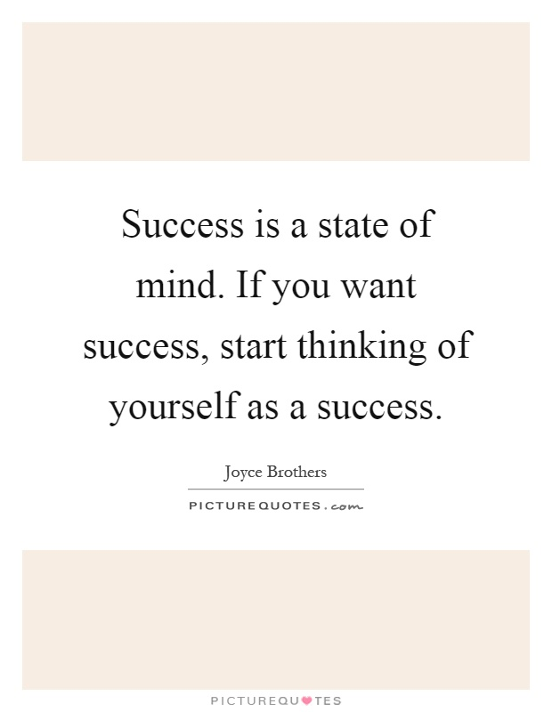 Success is a state of mind. If you want success, start thinking of yourself as a success Picture Quote #1