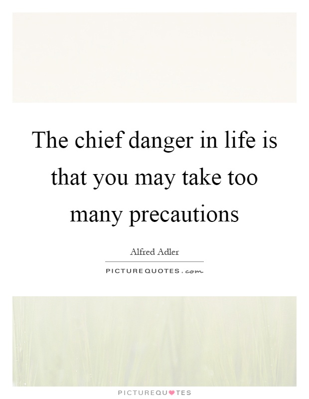 The chief danger in life is that you may take too many precautions Picture Quote #1