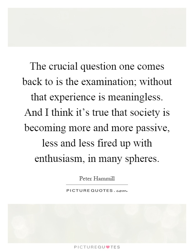 The crucial question one comes back to is the examination; without that experience is meaningless. And I think it's true that society is becoming more and more passive, less and less fired up with enthusiasm, in many spheres Picture Quote #1
