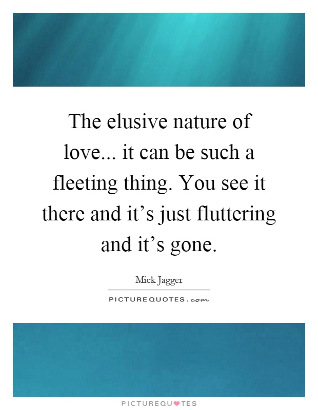 The elusive nature of love... it can be such a fleeting thing. You see it there and it's just fluttering and it's gone Picture Quote #1