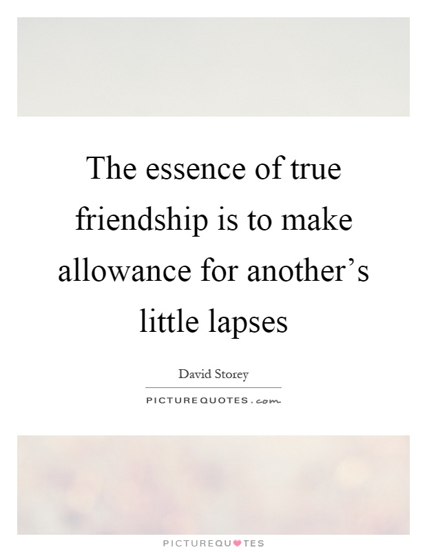 The essence of true friendship is to make allowance for another's little lapses Picture Quote #1