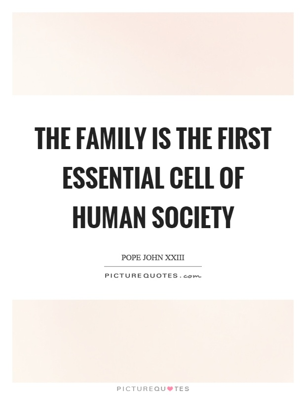 The family is the first essential cell of human society Picture Quote #1