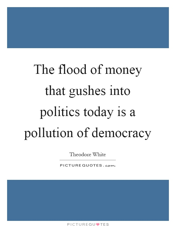 The flood of money that gushes into politics today is a pollution of democracy Picture Quote #1